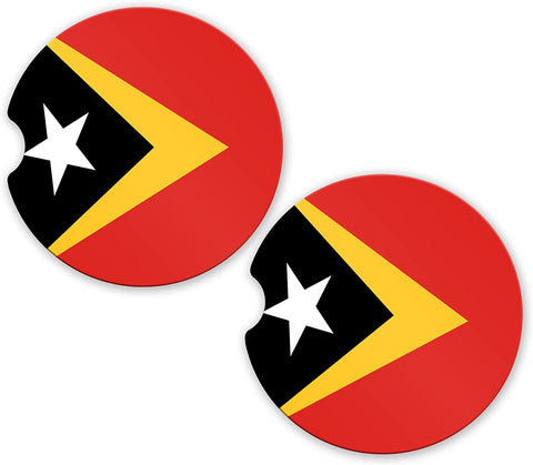 East Timor Flag Custom Car Coasters Cup Holder Matching Coaster Set