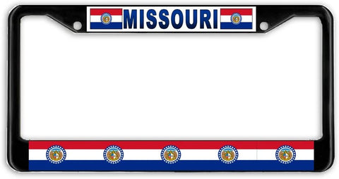 Missouri State Flag Black Metal Car Auto License Plate Frame Holder Black
