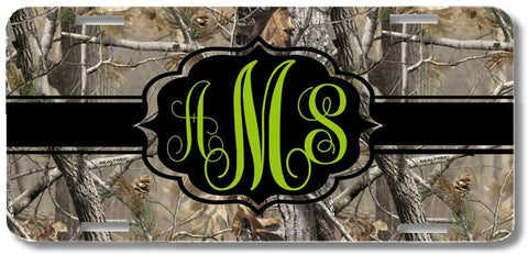 Brown Camo Green Black Ribbon Print Monogrammed Personalized Custom Initials License Plate Car Tag