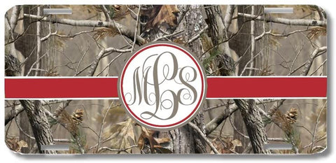 Brown Camo Red Ribbon Print Monogrammed Personalized Custom Initials License Plate Car Tag
