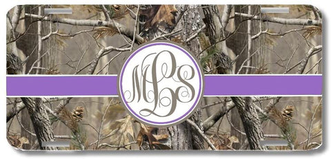 Brown Camo Purple #2 Ribbon Print Monogrammed Personalized Custom Initials License Plate Car Tag