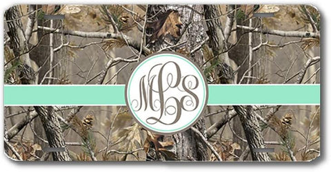 Brown Camo Mint Ribbon Print Monogrammed Personalized Custom Initials License Plate Car Tag