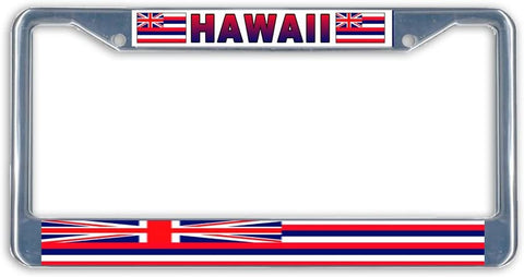 Hawaii Flag Metal License Plate Frame Holder Chrome