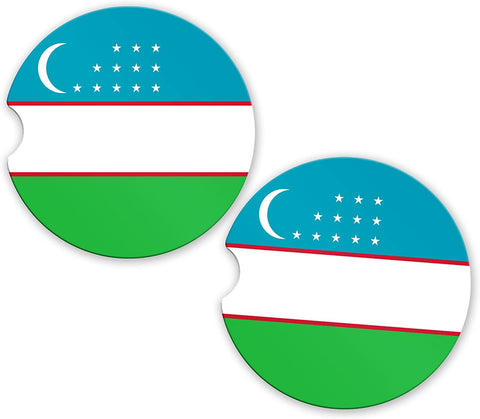 Uzbekistan Flag Custom Car Coasters Cup Holder Matching Coaster Set