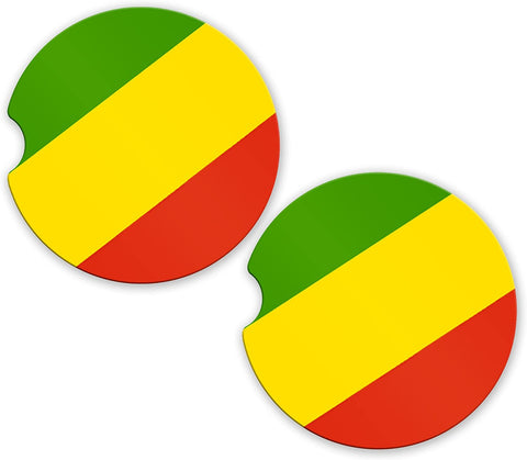 Congo Flag Custom Car Coasters Cup Holder Matching Coaster Set