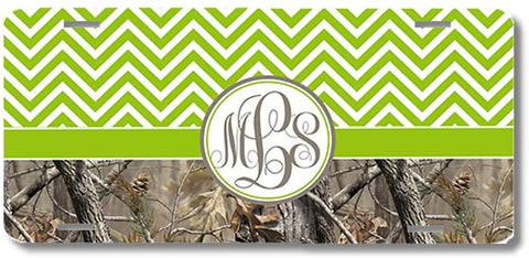 Green Monogrammed Chevron Camo Print Monogrammed Personalized Custom Initials License Plate Car Tag