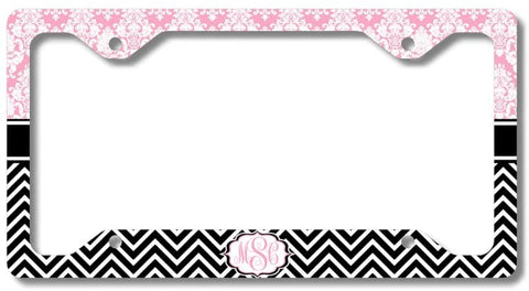Pink Damask Black Chevron Print Monogram Personalized Custom Initials License Plate Frame Car Tag
