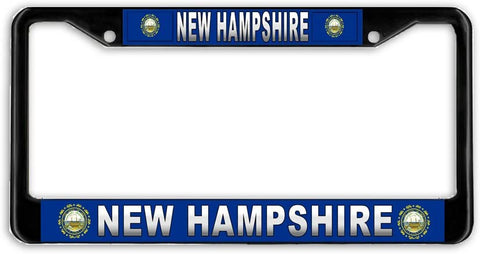 New Hampshire #3 State Flag Black Metal Car Auto License Plate Frame Holder Black