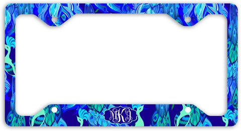 BrownInnovativeMedia Peacock Feather Blue Mint Print Monogram Personalized Custom Initials License Plate Frame Car Tag