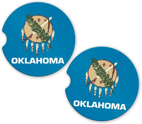 Oklahoma State Flag Custom Car Coasters Cup Holder Matching Coaster Set