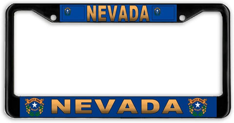Nevada #3 State Flag Black Metal Car Auto License Plate Frame Holder Black