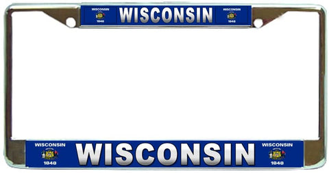 Winconsin State #3 License Plate Frame Holder Chrome …