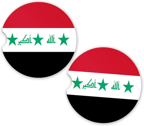 Iraq Flag Custom Car Coasters Cup Holder Matching Coaster Set
