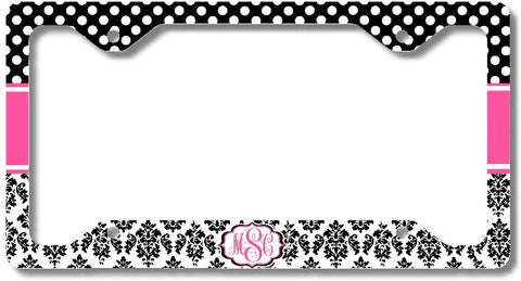 Hot Pink Polka Dots Black Damask Print Monogram Personalized Custom Initials License Plate Frame Car Tag