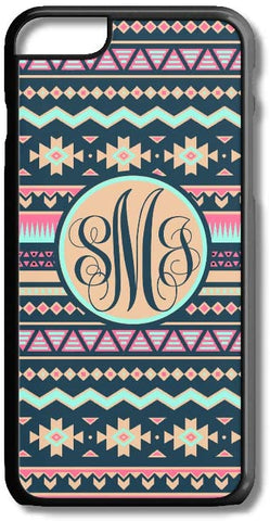 Navy Tan Aztec Tribal Pattern Custom Monogram for iPhone Case Cover 5/5S/SE/6/6S 6/6S 7 8 Plus X XS TPU