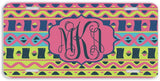 BrownInnovativeMedia Pink Yellow Aztec Tribal Print Monogram Personalized Custom Initials License Plate Car Tag