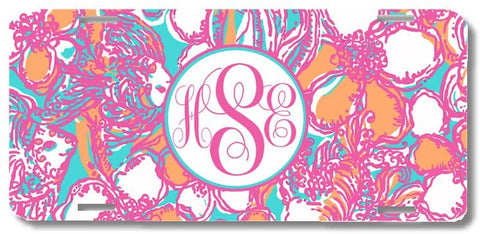 Hot Pink Aqua Fish Print Monogrammed Personalized Custom Initials License Plate Car Tag