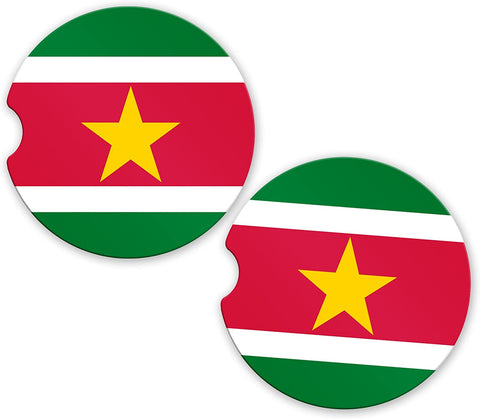 Suriname Flag Custom Car Coasters Cup Holder Matching Coaster Set