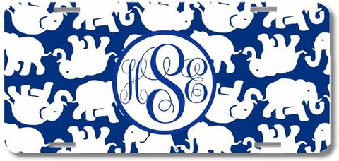 BrownInnovativeMedia Blue White Elephants Print Monogrammed Personalized Custom Initials License Plate Car Tag