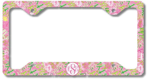 Pink LoL Text Print Monogram Personalized Custom Initials License Plate Frame Car Tag