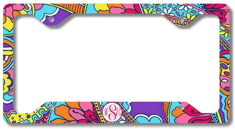 Purple Pink Paisley Floral Print Monogram Personalized Custom Initials License Plate Frame Car Tag