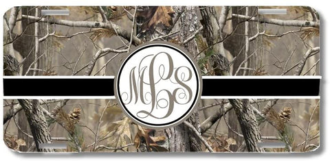 Brown Camo Brown Black Ribbon Print Monogrammed Personalized Custom Initials License Plate Car Tag