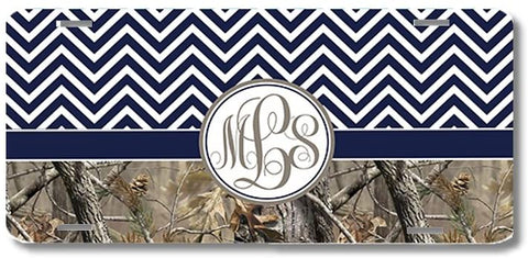 Navy Monogrammed Chevron Camo Print Monogrammed Personalized Custom Initials License Plate Car Tag