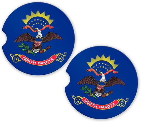North Dakota State Flag Custom Car Coasters Cup Holder Matching Coaster Set