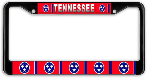 Tennessee #2 State Flag Black Metal Car Auto License Plate Frame Holder Black
