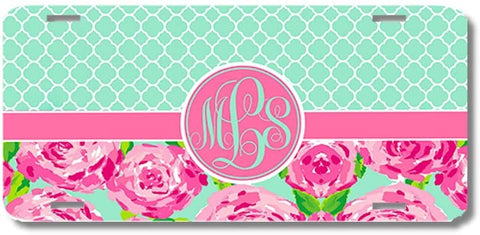 Floral Mint Quatrefoil Print Monogrammed Personalized Custom Initials License Plate Car Tag