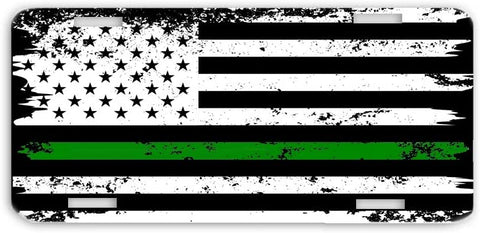 Thin Green Line Distressed Support for Military Personnel USA Flag License Plate Car Tag