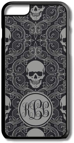 Gray Black Sugar Skulls Custom Monogram for iPhone Case Cover 5/5S/SE/6/6S 6/6S 7 8 Plus X XS TPU