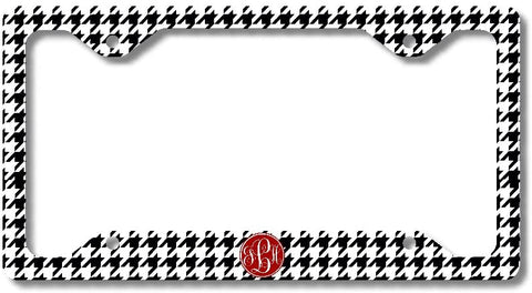 BrownInnovativeMedia Black Houndstooth Print Monogram Personalized Custom Initials License Plate Frame Car Tag