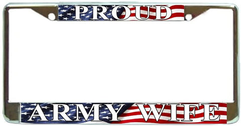 US Proud Army Wife Military License Plate Frame Holder Chrome …