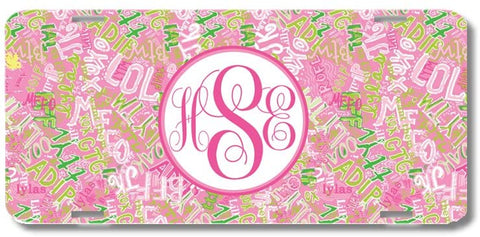 Pink Lol Text Print Monogrammed Personalized Custom Initials License Plate Car Tag