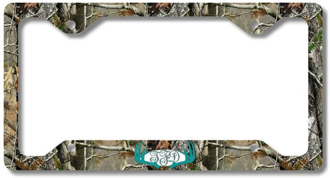 Turquoise Monogram Deer Antlers Camo Print Personalized Custom Initials License Plate Frame Car Tag