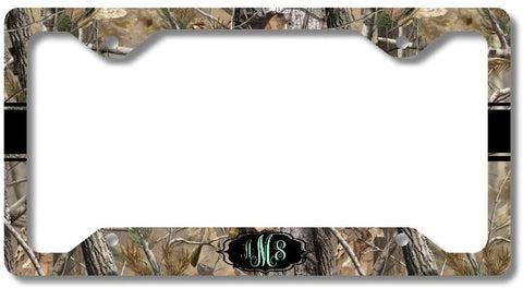 Brown Camo Mint Black Ribbon Print Monogram Personalized Custom Initials License Plate Frame Car Tag