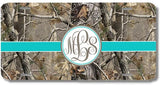 Brown Camo Aqua Ribbon Print Monogrammed Personalized Custom Initials License Plate Car Tag