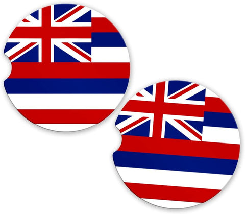 BrownInnovativeMedia Hawaii State Flag Custom Car Coasters Cup Holder Matching Coaster Set