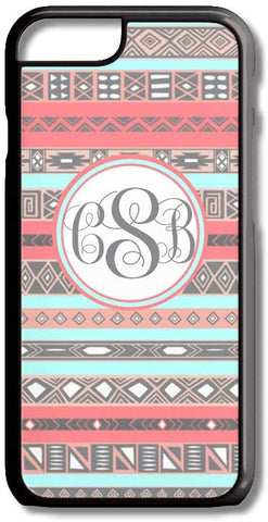 Coral Mint Aztec Tribal Pattern Custom Monogram for iPhone Case Cover 5/5S/SE/6/6S 6/6S 7 8 Plus X XS TPU