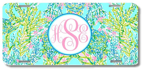 Mint Ocean Pastels Print Monogrammed Personalized Custom Initials License Plate Car Tag