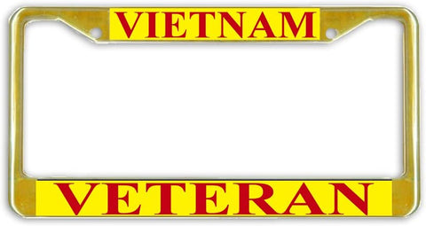 US Marine Corps Vietnam Veteran Military License Plate Frame Holder Gold Tone