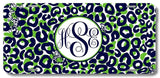 BrownInnovativeMedia Navy Green Leopard Cheetah Print Monogrammed Personalized Custom Initials License Plate Car Tag