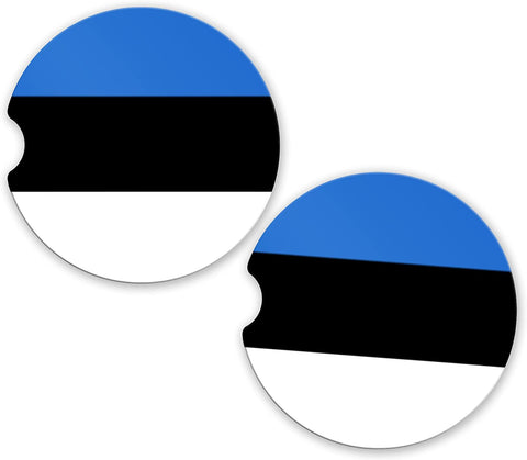 Estonia Flag Custom Car Coasters Cup Holder Matching Coaster Set