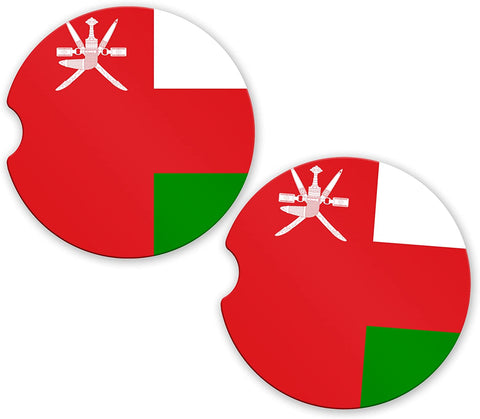 Oman Flag Custom Car Coasters Cup Holder Matching Coaster Set