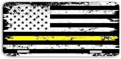 Thin Yellow Line Distressed Support for Dispatchers USA Flag License Plate Car Tag