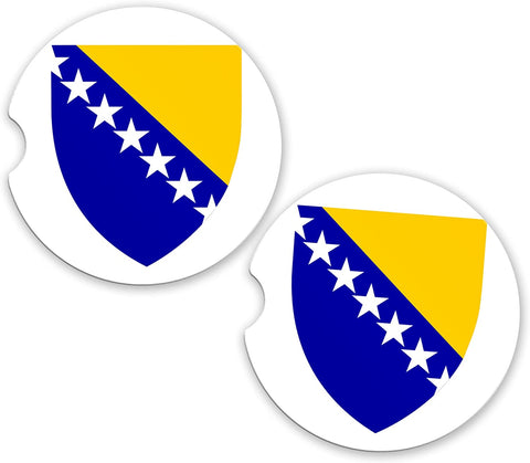 Bosnia World Flag Coat Of Arms Sandstone Cup Holder Matching Coaster Set