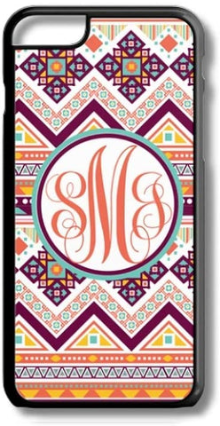 Orange Red Aztec Tribal Pattern Custom Monogram for iPhone Case Cover 5/5S/SE/6/6S 6/6S 7 8 Plus X XS TPU