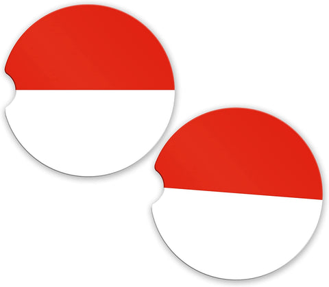 Indonesia Flag Custom Car Coasters Cup Holder Matching Coaster Set