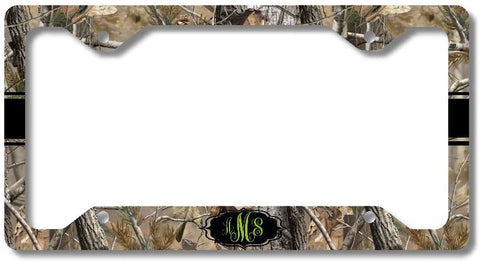 Brown Camo Green Black Ribbon Print Monogram Personalized Custom Initials License Plate Frame Car Tag